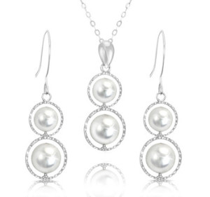 Double Pearl & Sterling Silver Dangle Earrings and Pendant Set