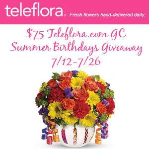 Teleflora.com $75 GC Summer Birthdays Giveaway