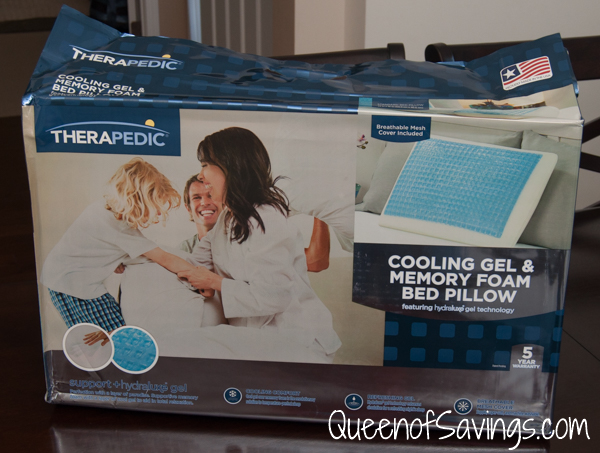 therapedic memory foam bed pillow with hydraluxe gel
