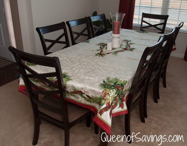 Christmas ribbons tablecloth from brylane home queen of for Brylane home christmas decorations