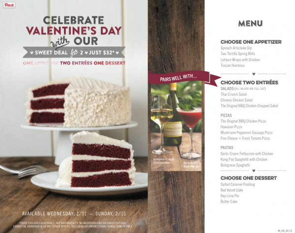CPK Valentines Day Special
