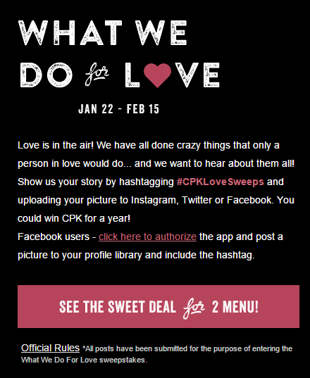 CPK What We Do for Love Sweeps
