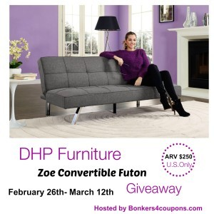DHP Furniture Zoe Convertible Futon Giveaway