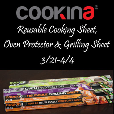 COOKINA Reusable Cooking Sheets Giveaway. Ends 4/4