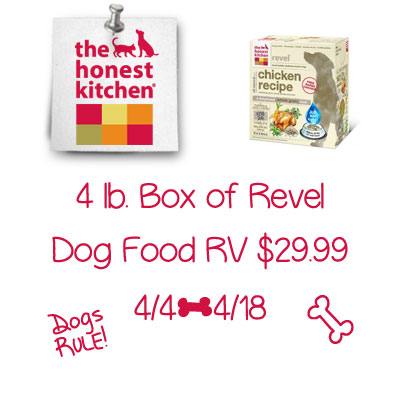 Enter the The Honest Kitchen Revel Dog Food Giveaway. Ends 4/18