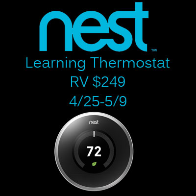 Nest Learning Thermostat Giveaway. Ends 5/9