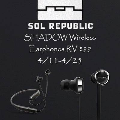 SOL Republic Shadow Wireless Earphones Giveaway. Ends 4/25