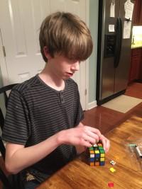 Zach Assembling Rubik's Cube