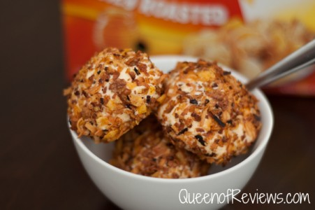 Fried Ice Cream made from Honey Bunches of Oats