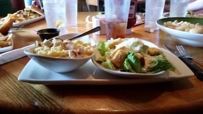Kids Fettucine with Chicken and Caesar Salad