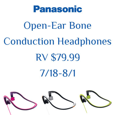 Enter the Panasonic Open-Ear Bone Conduction Headphones Giveaway. Ends 8/1
