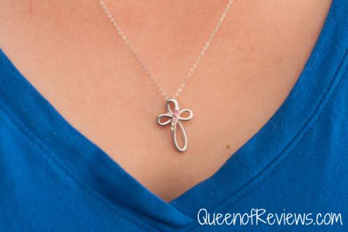 4 Stone Sterling Silver Infinity Cross