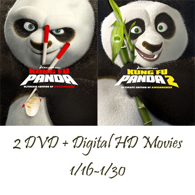 Kung Fu Panda & Kung Fu Panda 2 DVD + Digital HD Movies Giveaway. Ends 1/30