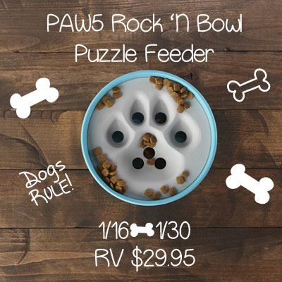 PAW5 Rock 'N Bowl Puzzle Feeder Giveaway. Ends 1/30