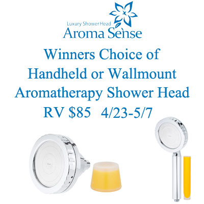 Enter the AromaSense Shower Head Giveaway. Ends 5/7