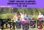 Yummy Organic Slammers Superfood Snack Giveaway RV $100