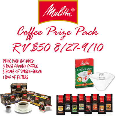Melitta Coffee Giveaway. Ends 9/10