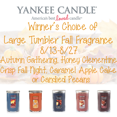 Yankee Candle 2016 Fall Fragrance Collection Giveaway. Ends 8/27