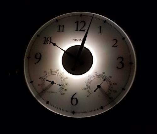 24-inch Illuminated Outdoor Clock with Thermometer and Humidity Sensor Illuminated