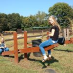 Hannah and Madison on Seesaw at Shuckles