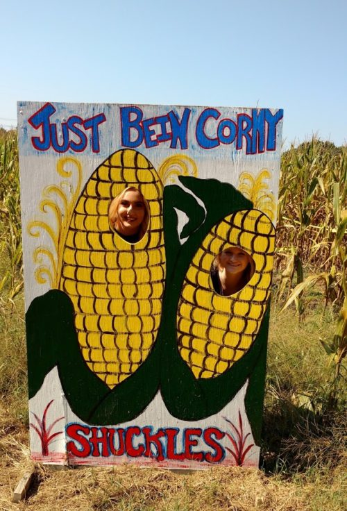 Girls being Corny at Shuckles Corn Maze