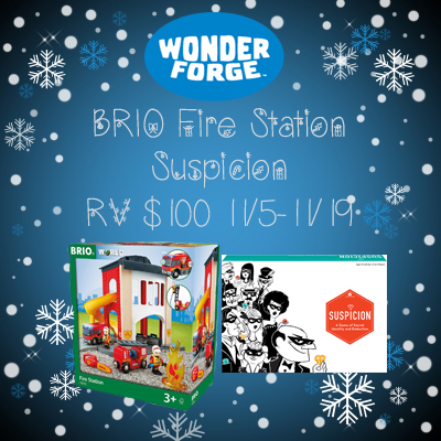 Wonder Forge BRIO Fire Station & Suspicion Giveaway. Ends 11/19