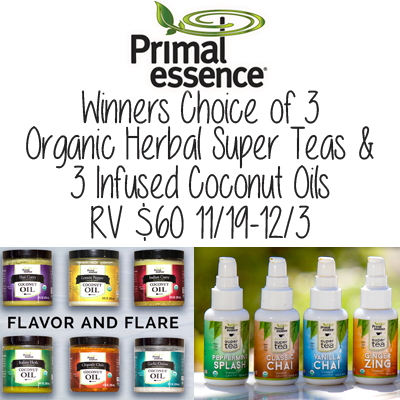 Primal Essence Herbal Tea & Coconut Oil Giveaway