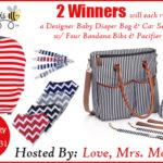 2 Winners – Designer Baby Diaper Bag & Car Seat Cover w/ Four Bandana Bibs & Pacifier Clips!