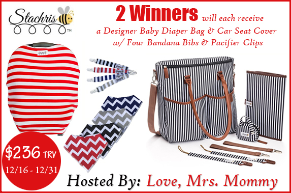 2 Winners - Designer Baby Diaper Bag and Car Seat Cover with Four Bandana Bibs and Pacifier Clips!