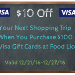 Purchase $100 in Visa Gift Cards at Food Lion and Get $10 Off On Your Next Shopping Order #FLVisa16