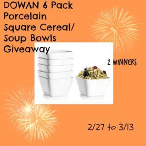 DOWAN 6 Pack Porcelain Square Cereal/Soup Bowls Giveaway