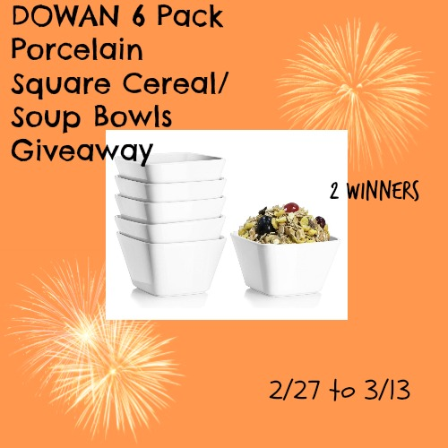 DOWAN 6 Pack Porcelain Square Cereal/Soup Bowls Giveaway