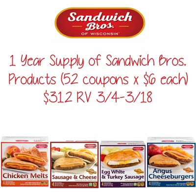 Year Supply of Sandwich Bros. Products Giveaway. Ends 3/18