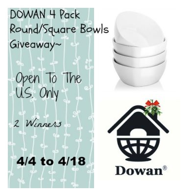 DOWAN 4 Pack of Round/Square Bowl Giveaway