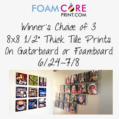 Enter the FoamCorePrint.com Giveaway. Ends 7/8