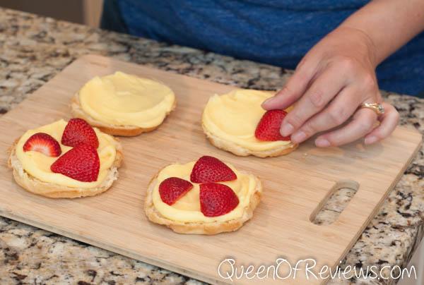 Cut strawberries in half