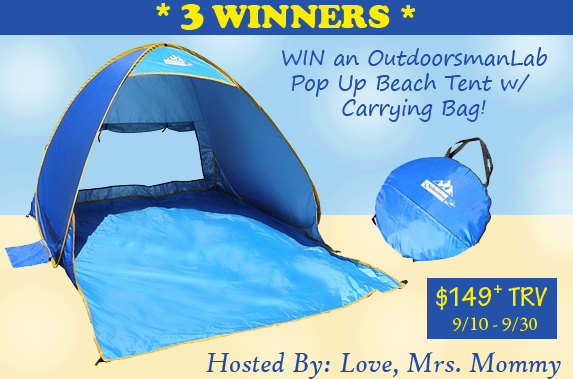 3 Winner OutdoorsmanLab Pop Up Beach Tent Giveaway! $149+ TRV