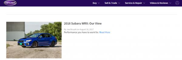 Cars.com Subaru WRX