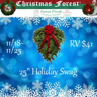 "Enter the ChristmasForest.com 25"" Holiday Swag. Ends 11/25"