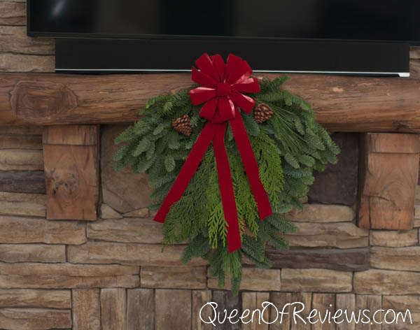 """25"""" Holiday Swag Fireplace"""