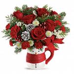 Send a Hug® Snowman Mug Bouquet by Teleflora